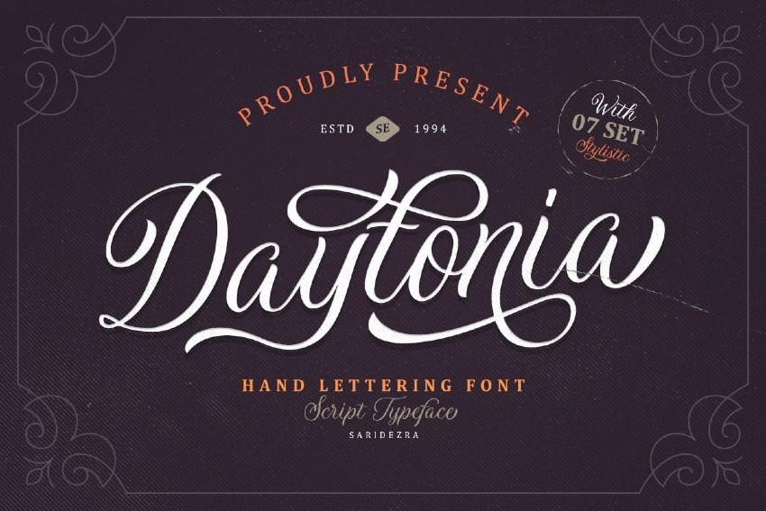 2. Daytonia - Hand Lettering Script (TTF, OTF)