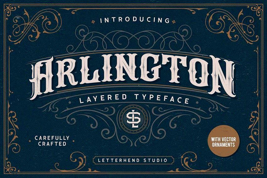 Arlington Layered Fonts & Ornaments (OTF, TTF)