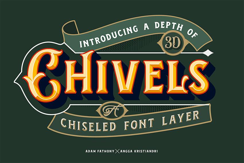 Chivels - Chiseled Layered Font (OTF, TTF)