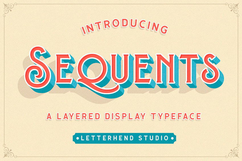 Sequents - Layered Font (OTF, TTF)