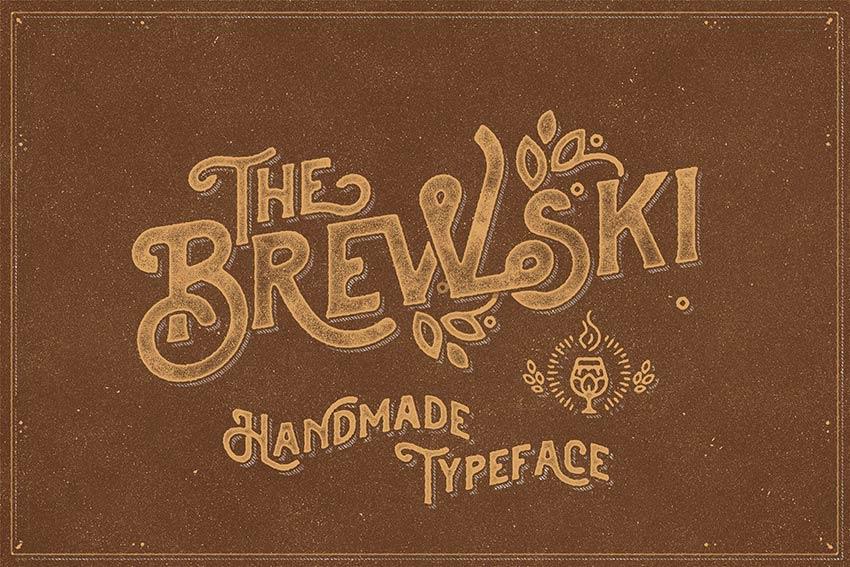 The Brewski - Textured Typeface (OTF, TTF, WOFF)