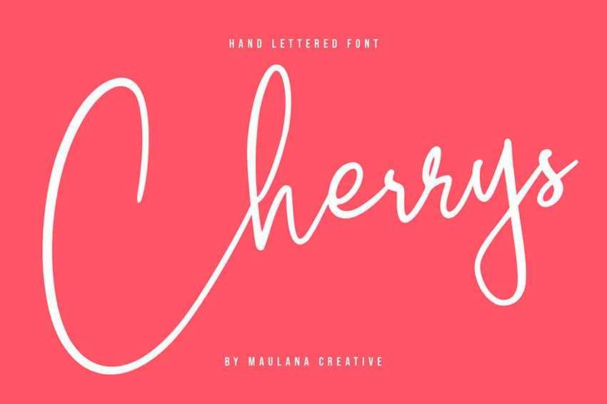 Cherrys Hand - Lettering Font (OTF, TTF, WOFF)