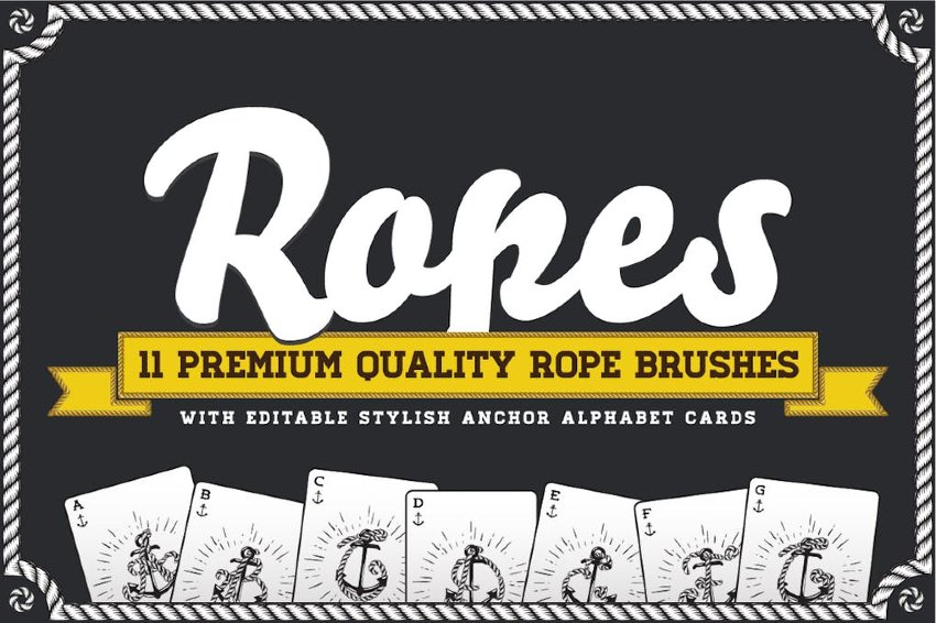 Rope Brush Set with Stylish Anchor Letters