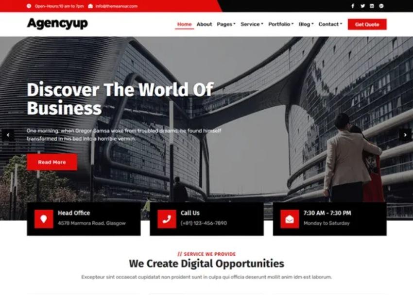 Agencyup Free WordPress Theme