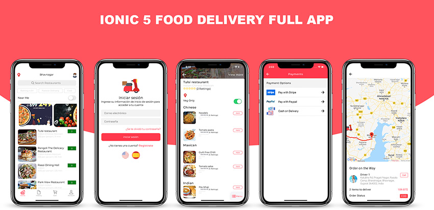 Ionic 5 food delivery full (Android + iOS + Admin Panel PWA)