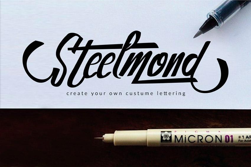 Steelmond - Hand Lettering Font (OTF, TTF)