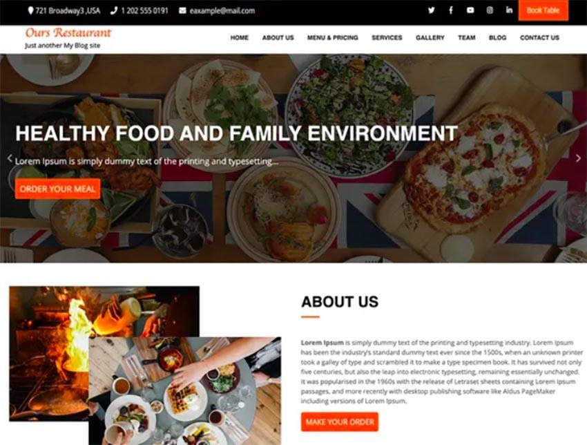 Ours Restaurant - Free WordPress Restaurant Theme