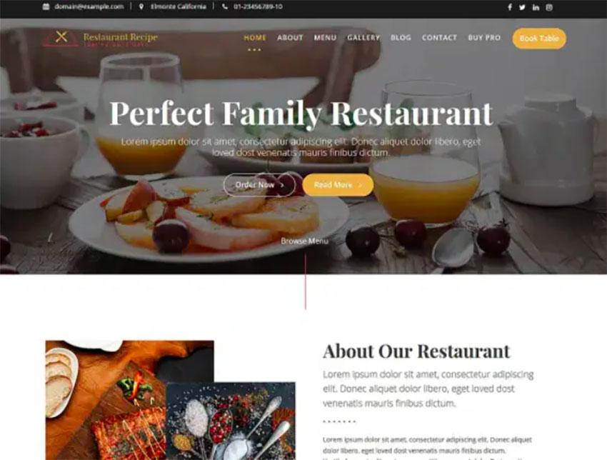Restaurant Recipe - Free WordPress Restaurant Theme