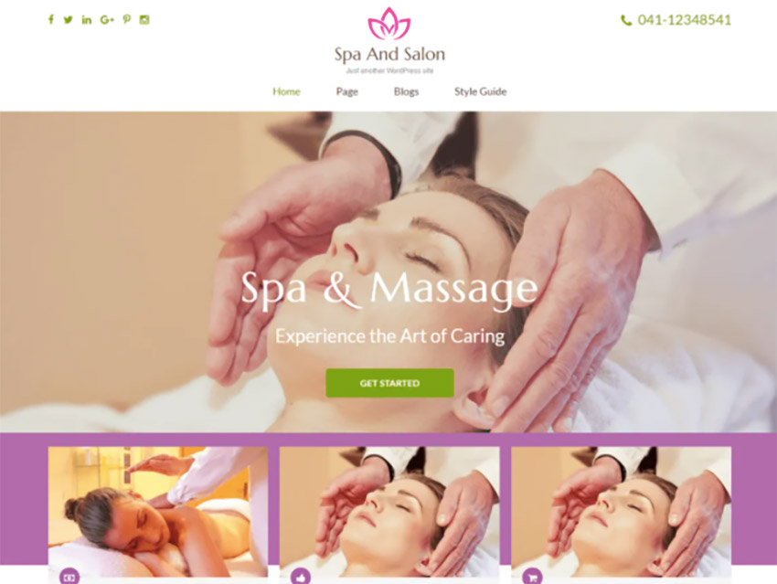 Spa and Salon Free Spa Website Theme