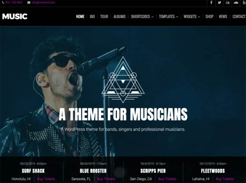 Music Lite Free WordPress Theme For Musicians