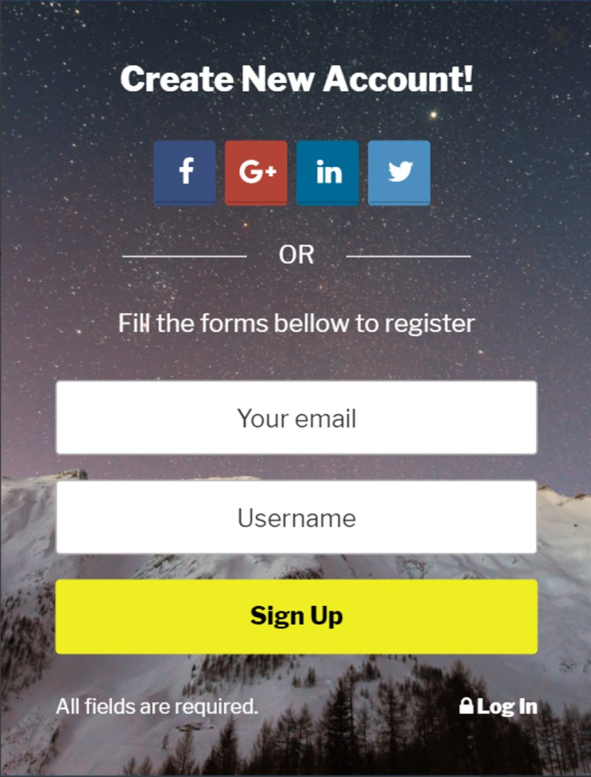 BS Input - Social Login and Register Popup