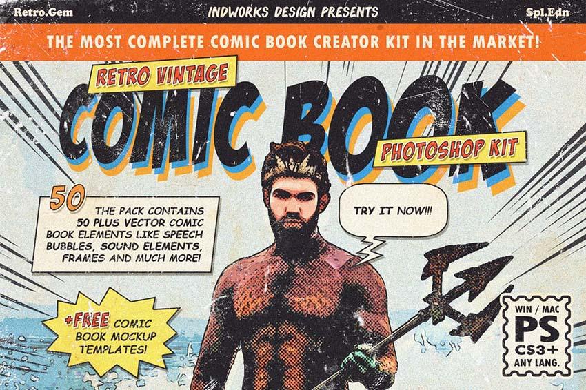 Retro Comic Book Photoshop Action Kit