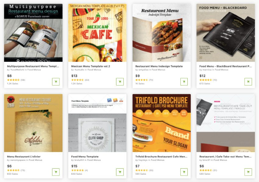 Buy food menu templates one at a time from GraphicRiver