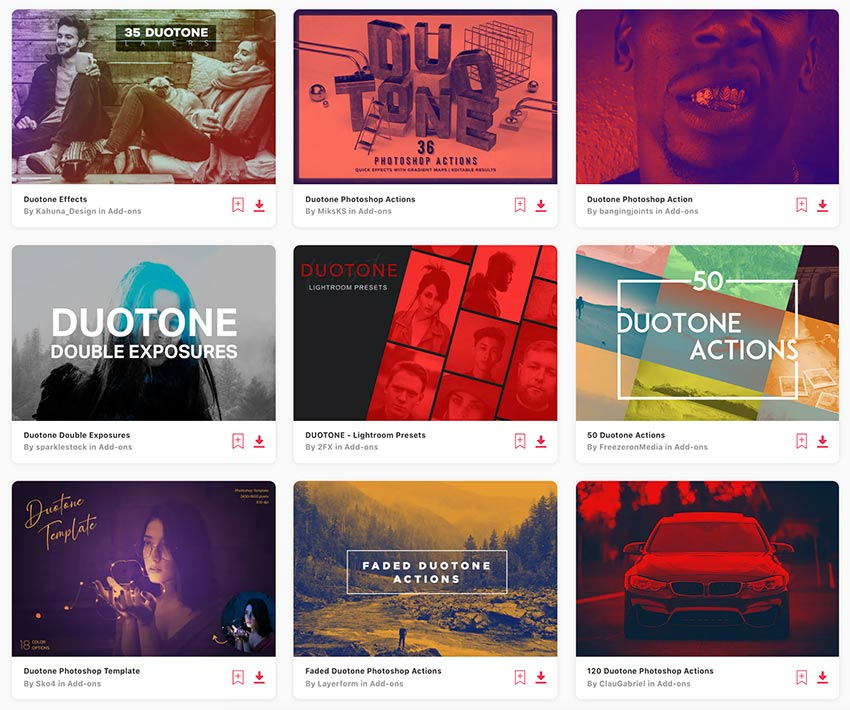 Enjoy unlimited downloads of duotone effects from Envato Elements.