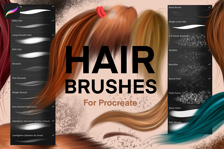 Procreate Hair Brushes Pack