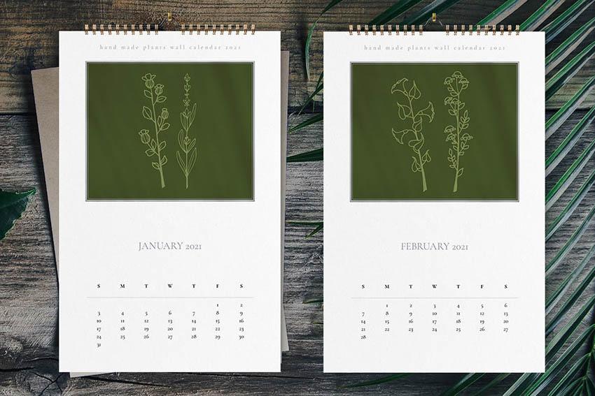 Hand Made Plants Wall Calendar 2021