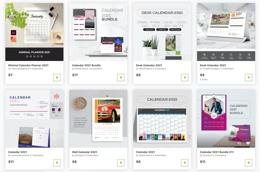 best InDesign calendar templates from GraphicRiver