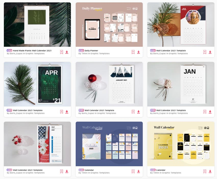 newest indesign calendar templates from Envato Elements