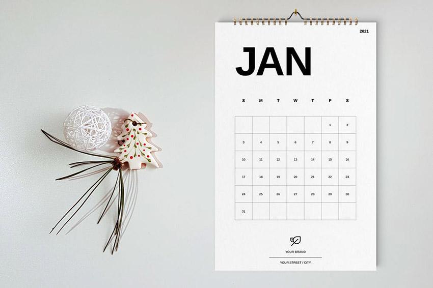 Minimalist Wall Calendar 2021 Template