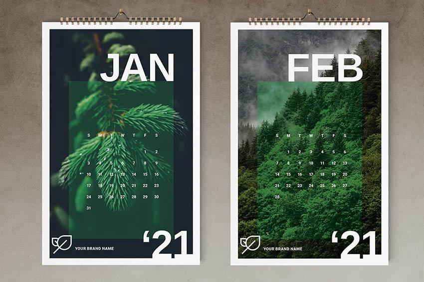 Nature Inspired Calendar 2021 Template