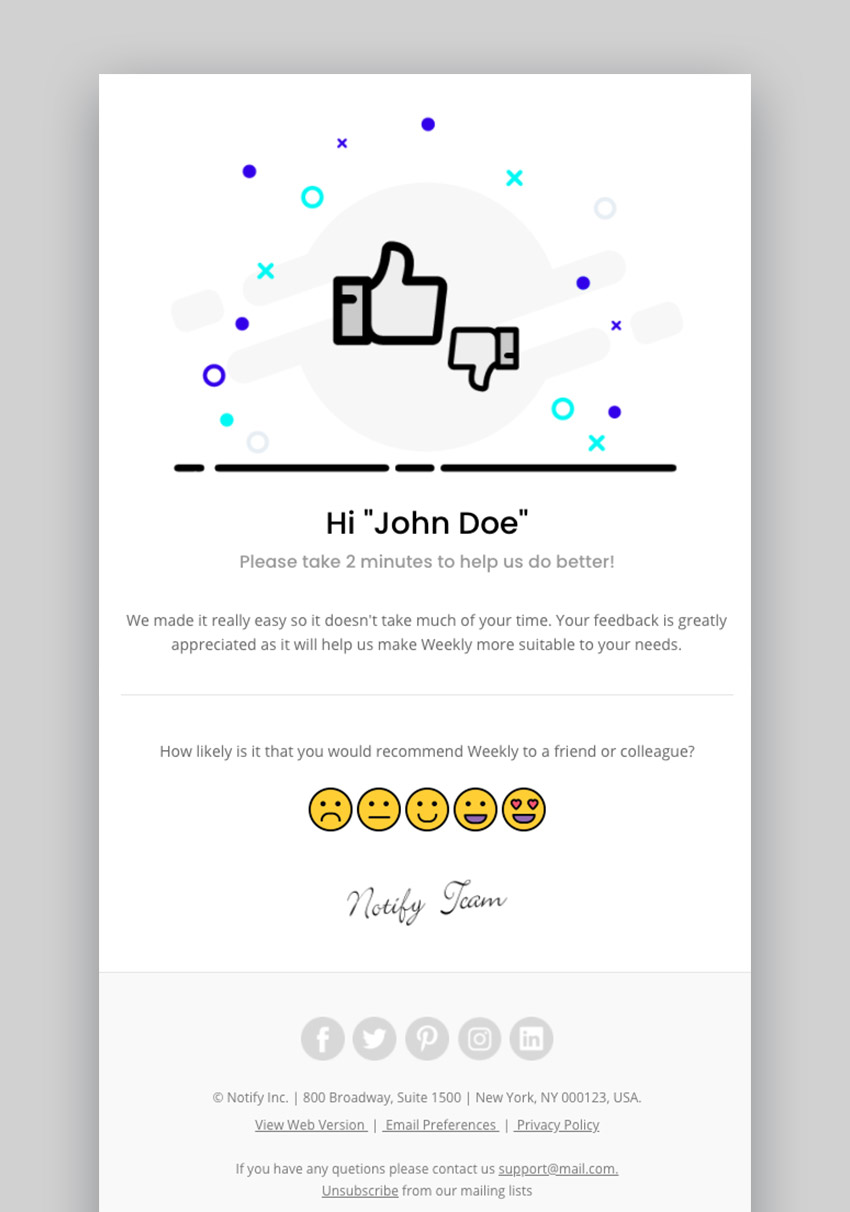 Notify Responsive Multipurpose Email Template With Online Builder