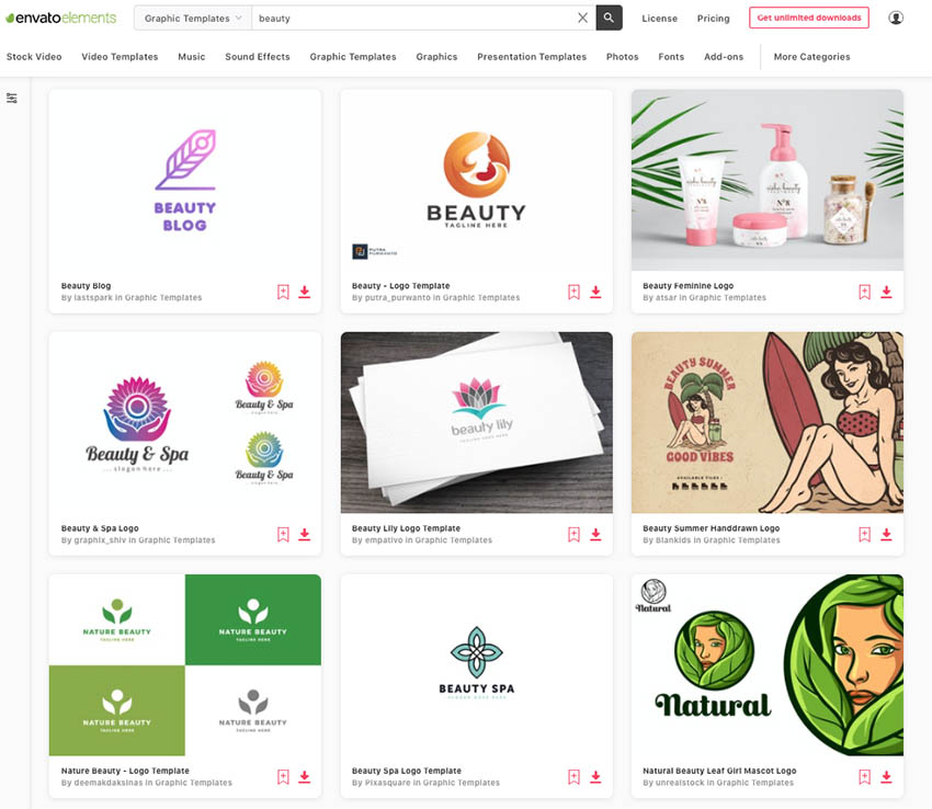 unlimited downloads of beauty logo designs from Envato Elements