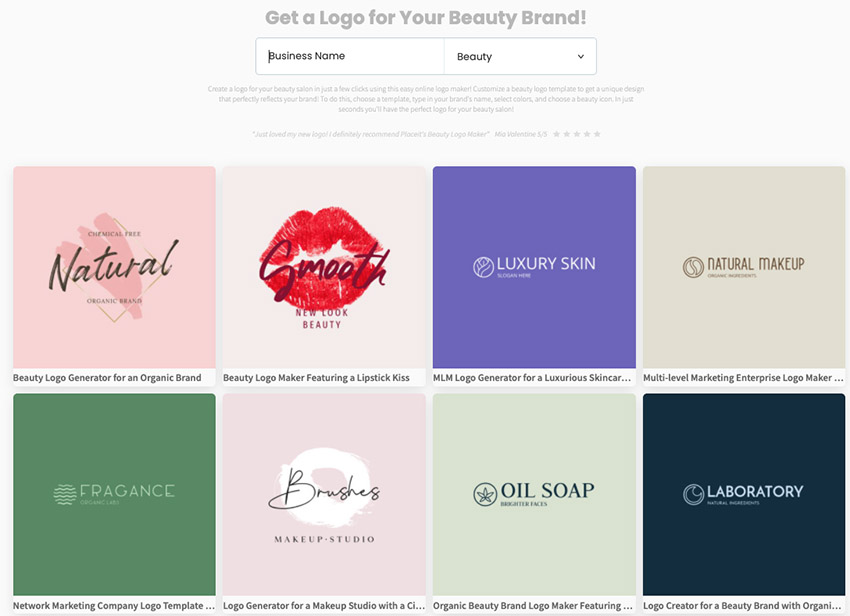 Placeits beauty logo maker to do your own logo