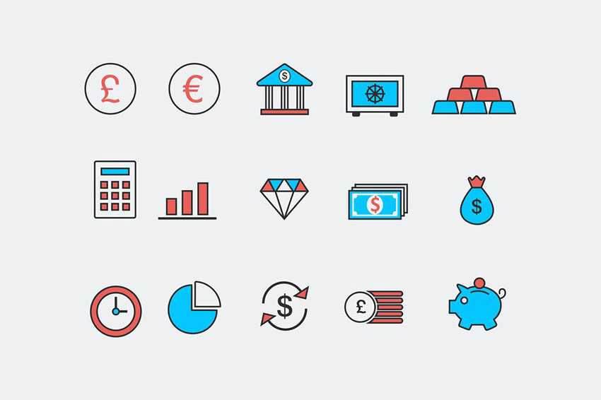 Image of Bank and Finance Icons