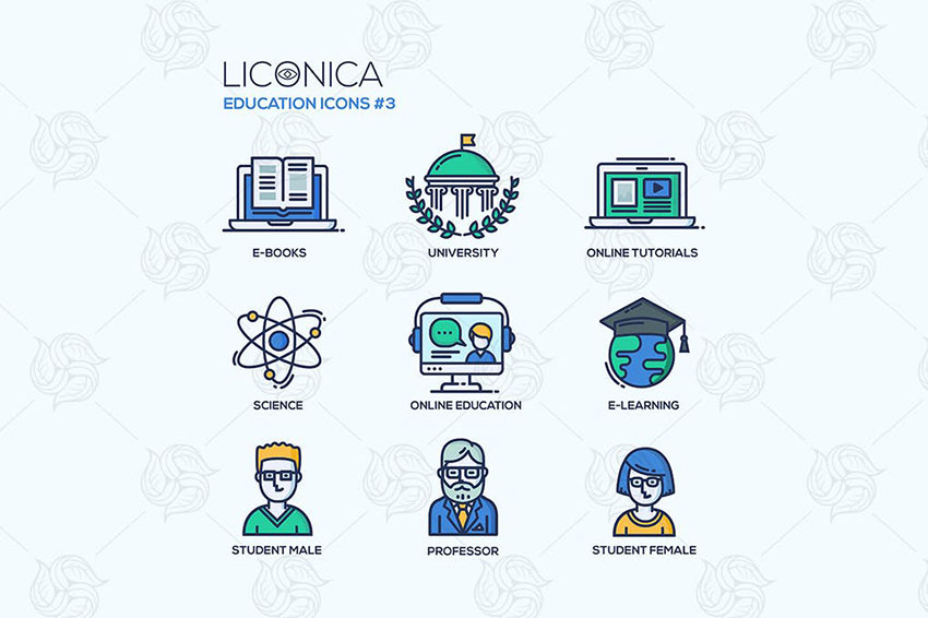 Image of Modern school and education thin line design icons