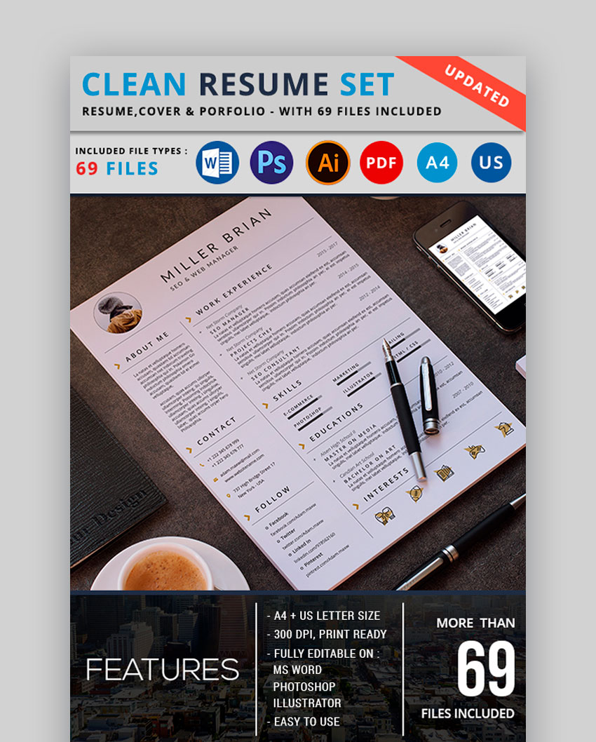 Clean Resume Set - Awesome Resume Layout
