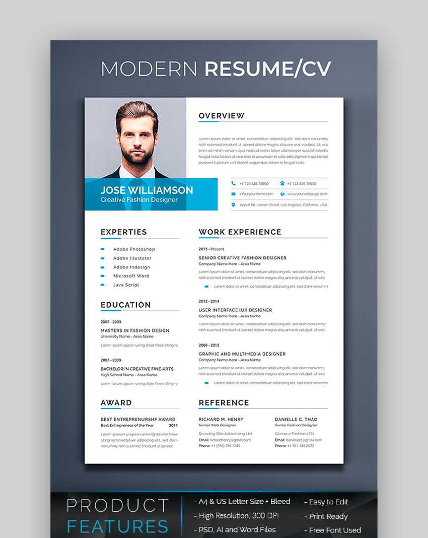 25 Awesome Resume Cv Templates With Beautiful Layout Designs 2020