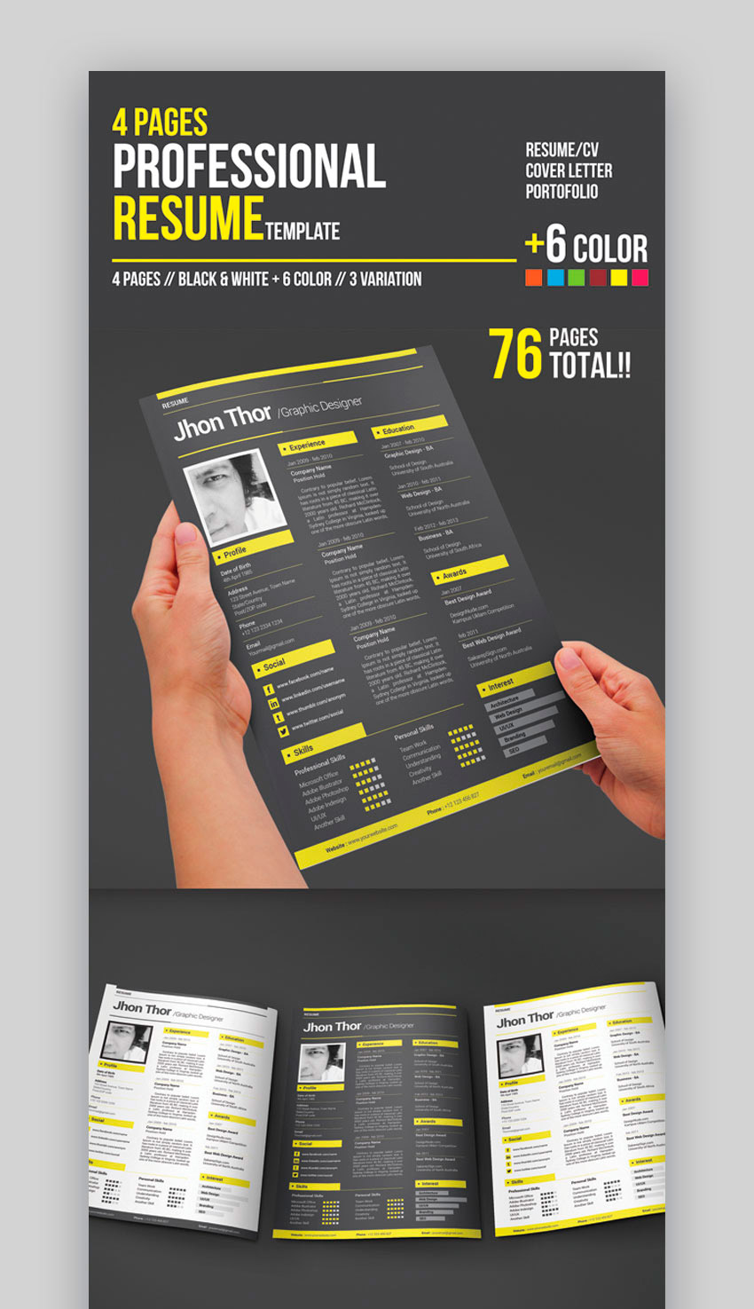 4 Pages Professional Resume Template best design resumes