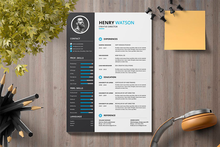 template cv adobe illustrator with columns