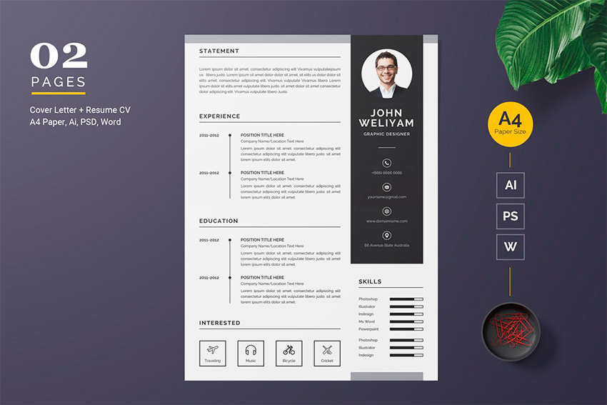 template cv adobe illustrator example
