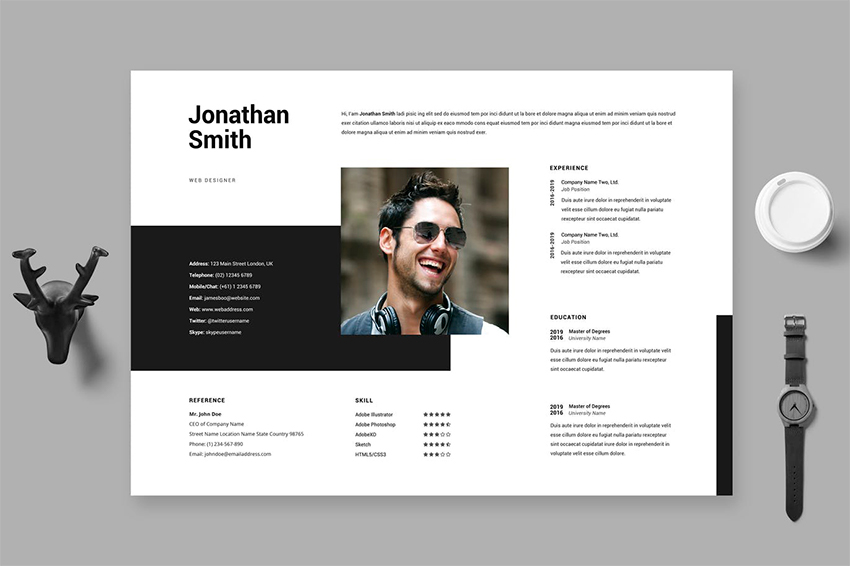 Adobe Illustrator CV Template Horizontal