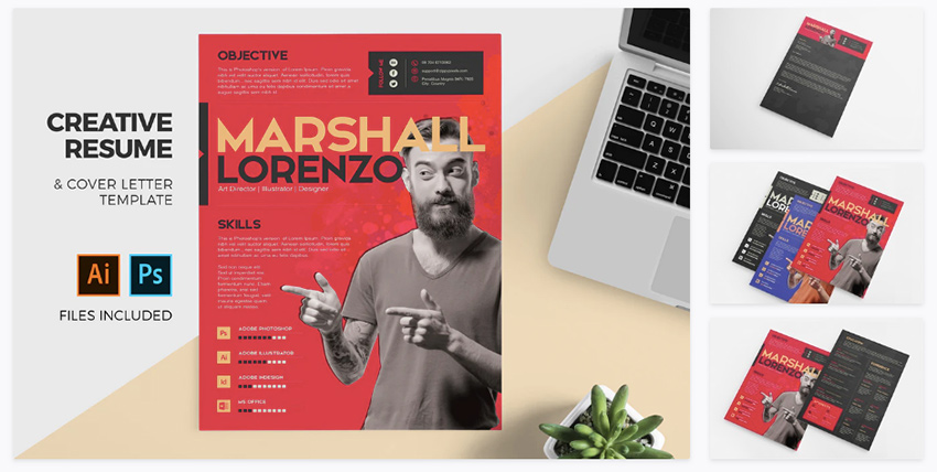 colorful Adobe Illustrator CV template