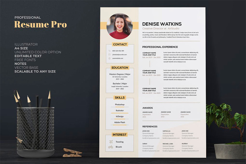 illustrator cv template