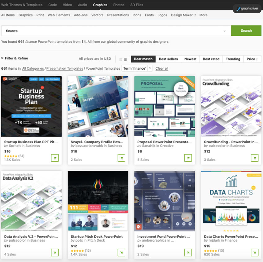 financial powerpoint presentation examples in GraphicRiver