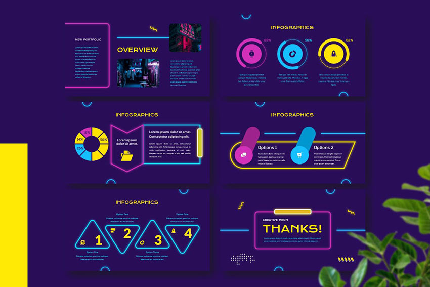 IGNITO - Neon Colour Google Slides Template