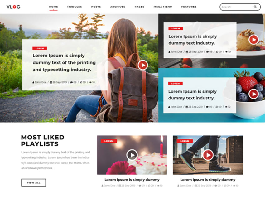 Vlogger Video Blog Theme