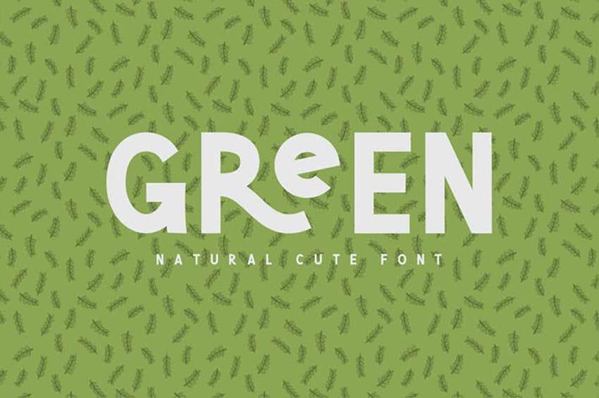 Green Natural Cute Font
