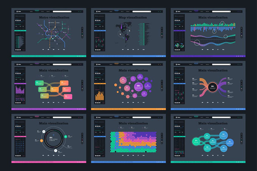 Vector UI Kit for infographics Charts