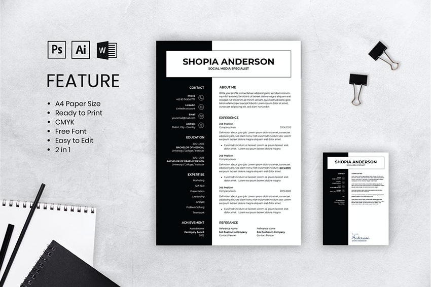 CV Resume for MS Word and Adobe AI PSD