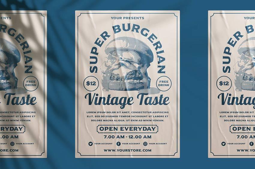 Vintage Burger Flyer Template