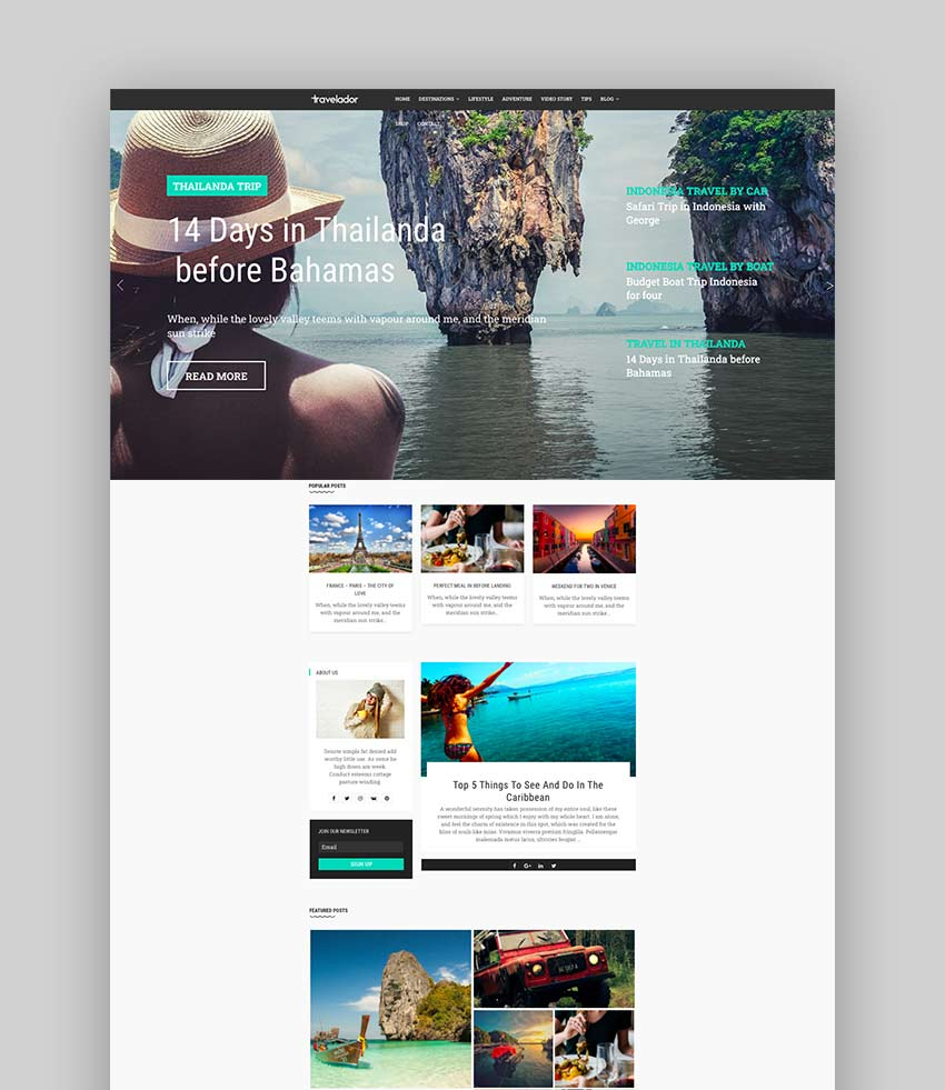 Travelador - Blog Tourism  Agency Joomla Template