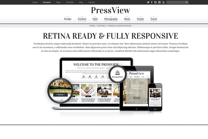 PressView Vintage and Stylish Magazine Template