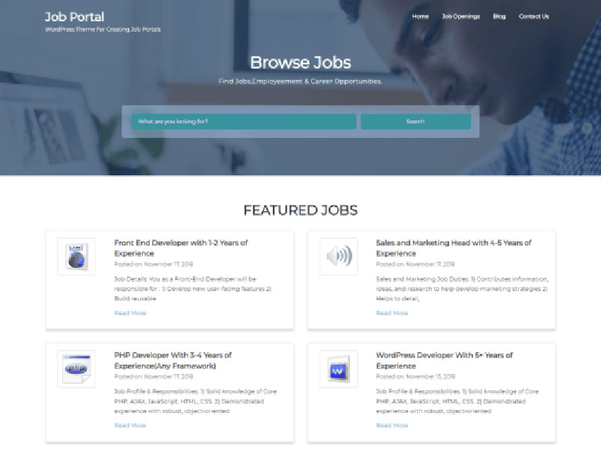 Job Portal Free WordPress Job Site