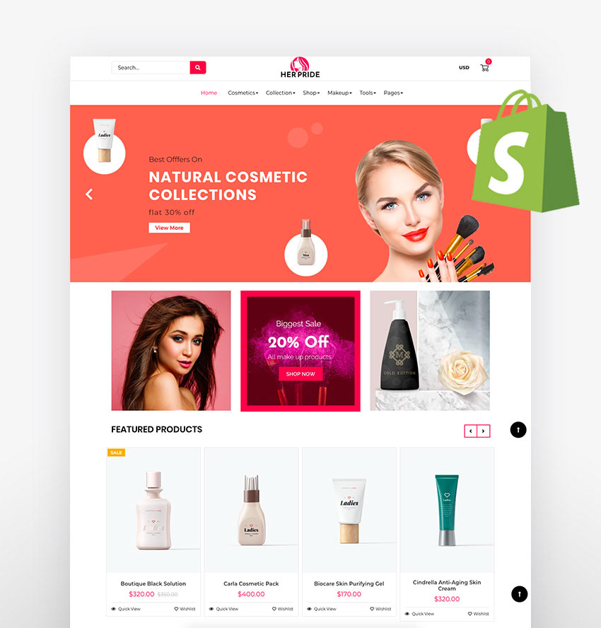 HerPride - Shopify Beauty Center Cosmetic Shop