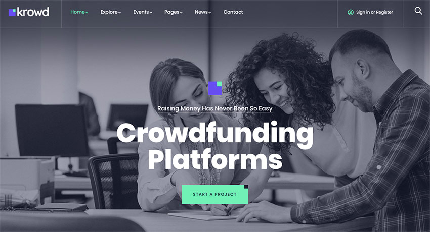Krowd - Crowdfunding  Charity WordPress Theme