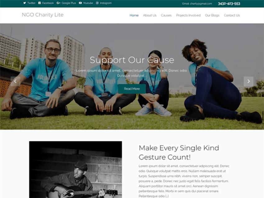 NGO Charity Lite Free WordPress Crowdfunding Theme